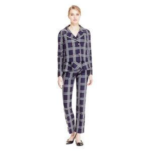 Lela Rose Plaid Stretch Wool Jacket & Pants Set